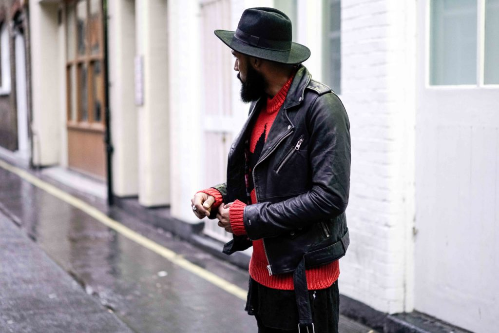 Streetstyle London wearing Tommy Hilfiger Leather Biker Jacket