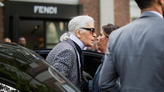 Karl Lagerfeld at the Fendi SS17 Show during Milan Fashion Week