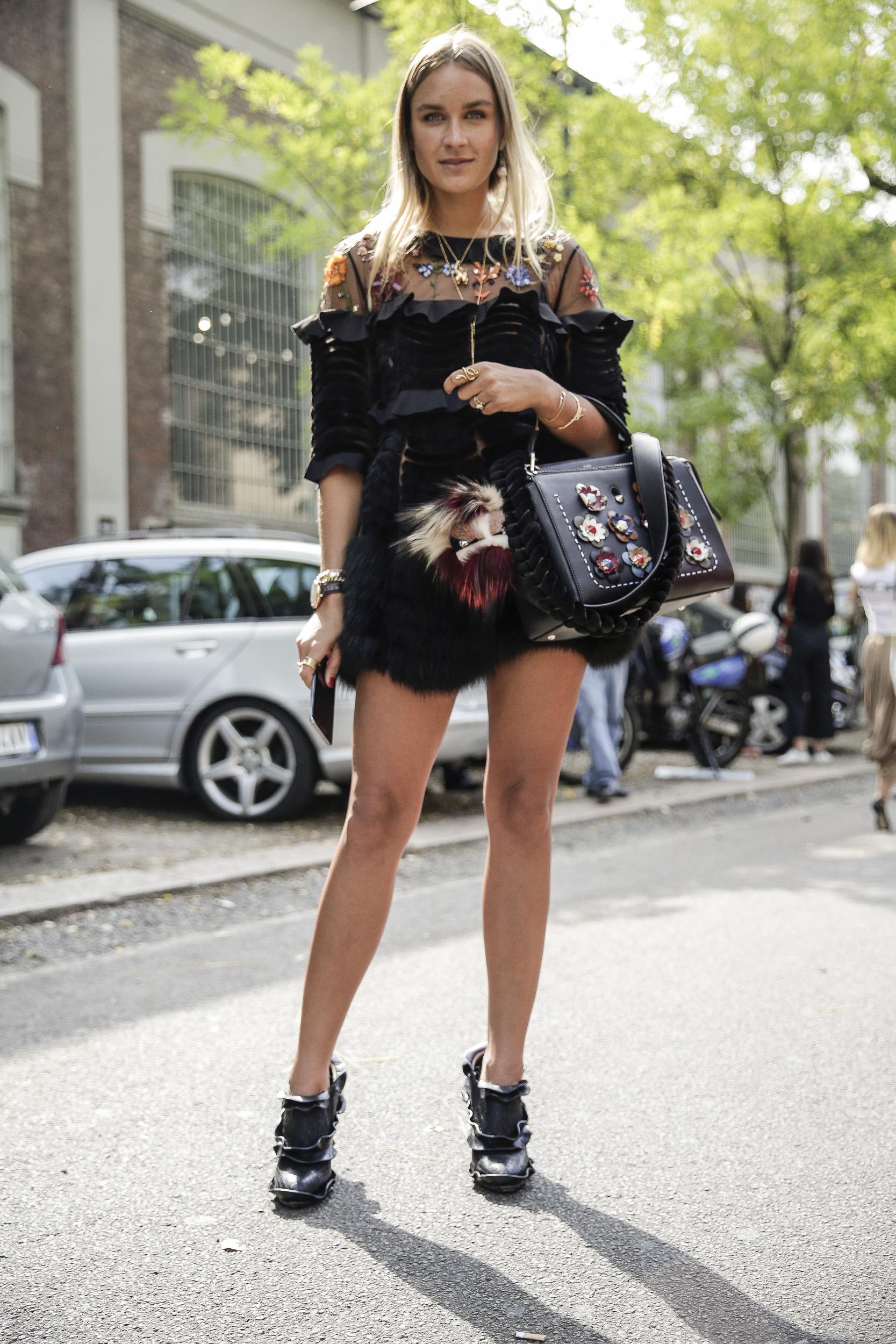 Nina Suess before the Fendi SS17 Show during Milan Fashion Week