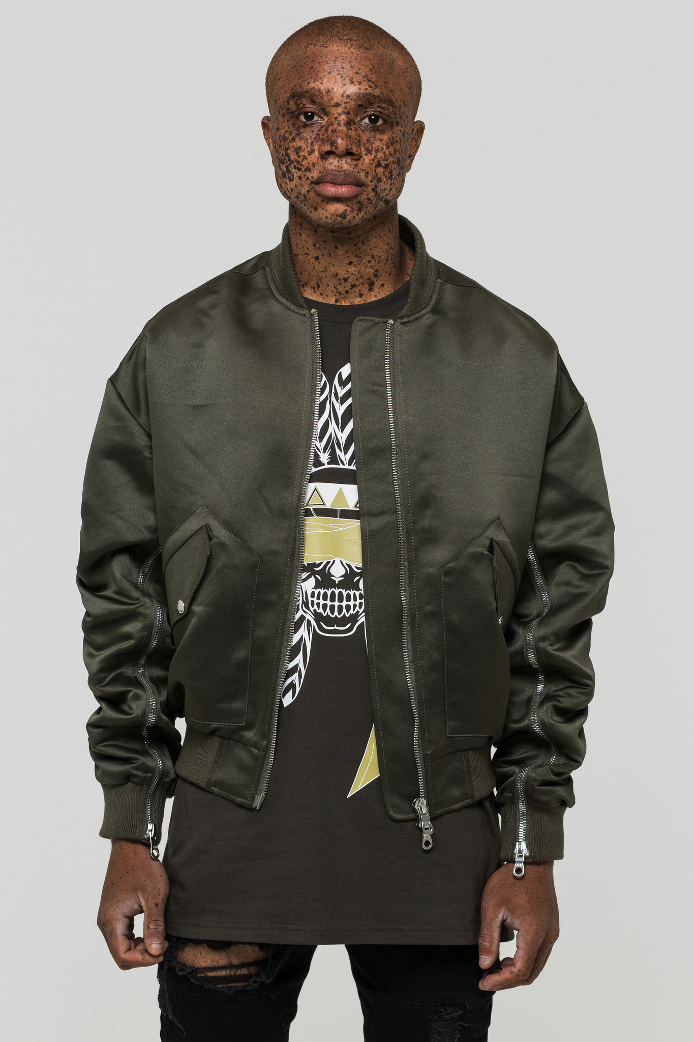Green Only the Blind Bomber Jacket