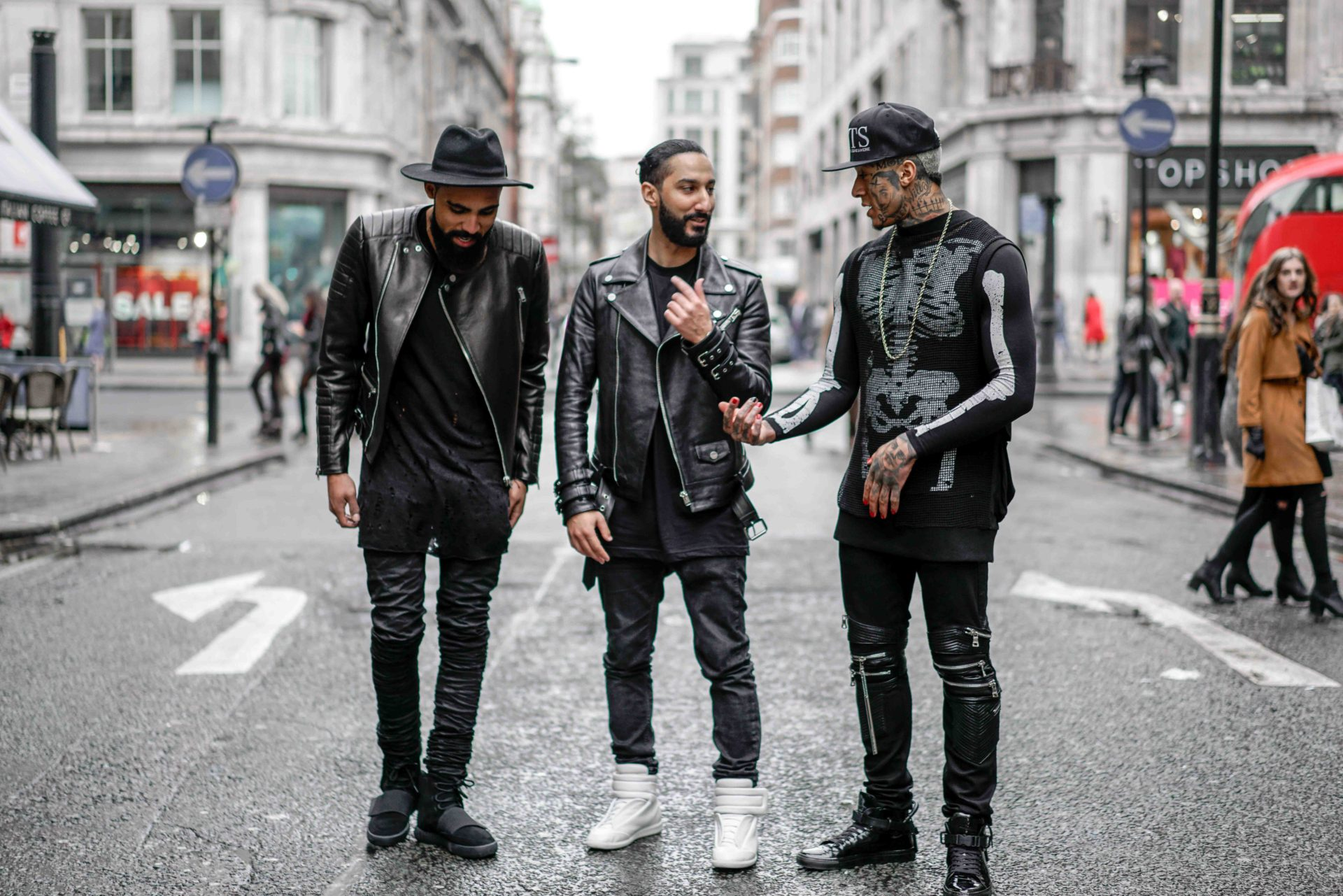 Street Style London during London Fashion Week with Fahsion Editor Jean-Claude Mpassy, Rapper Tino Kamal and Designer Mounir Ghazi