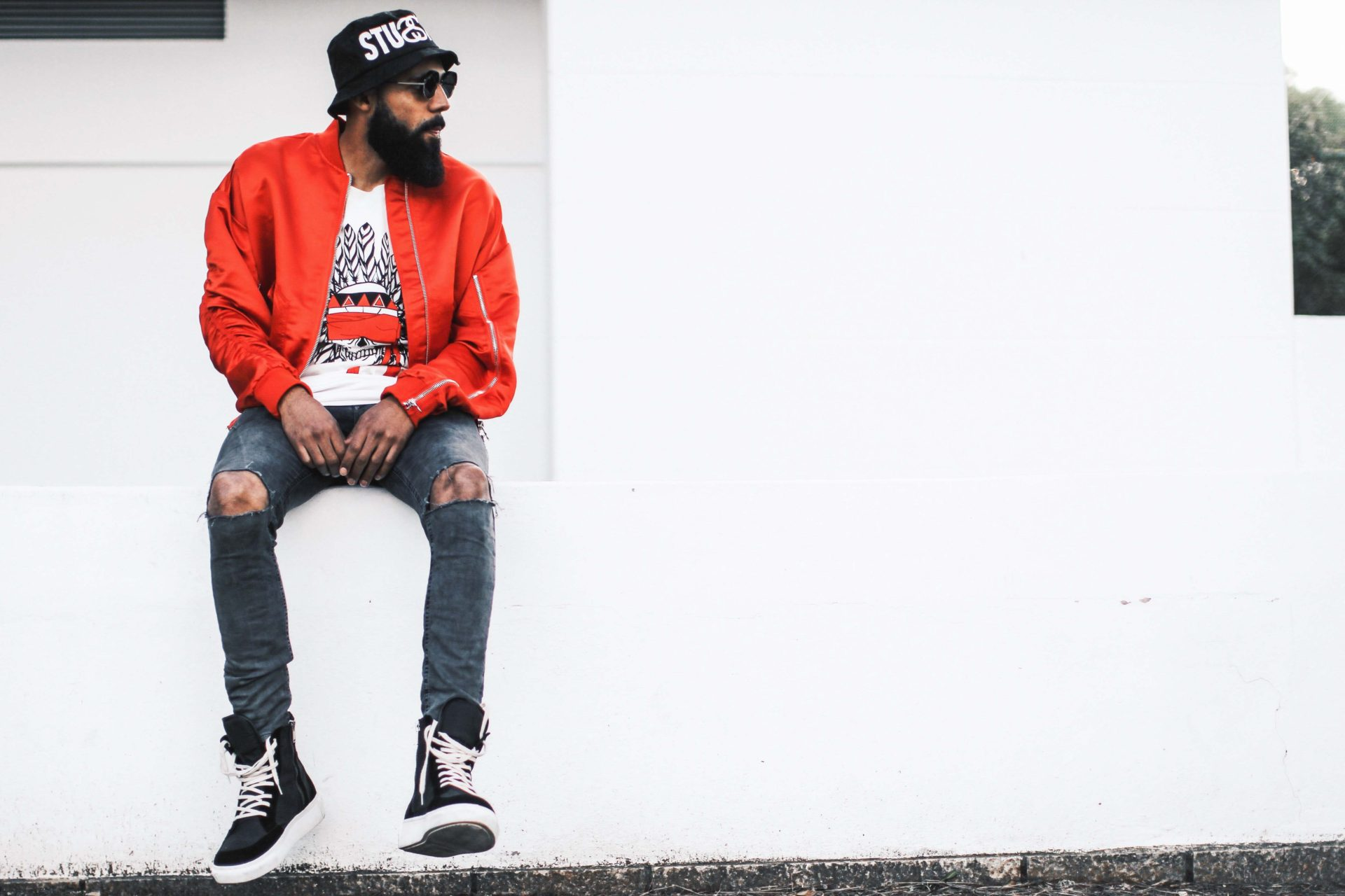 Generation Y - Blogger New Kiss on the Blog wearing Red Bomber Jacket from Only The Blind