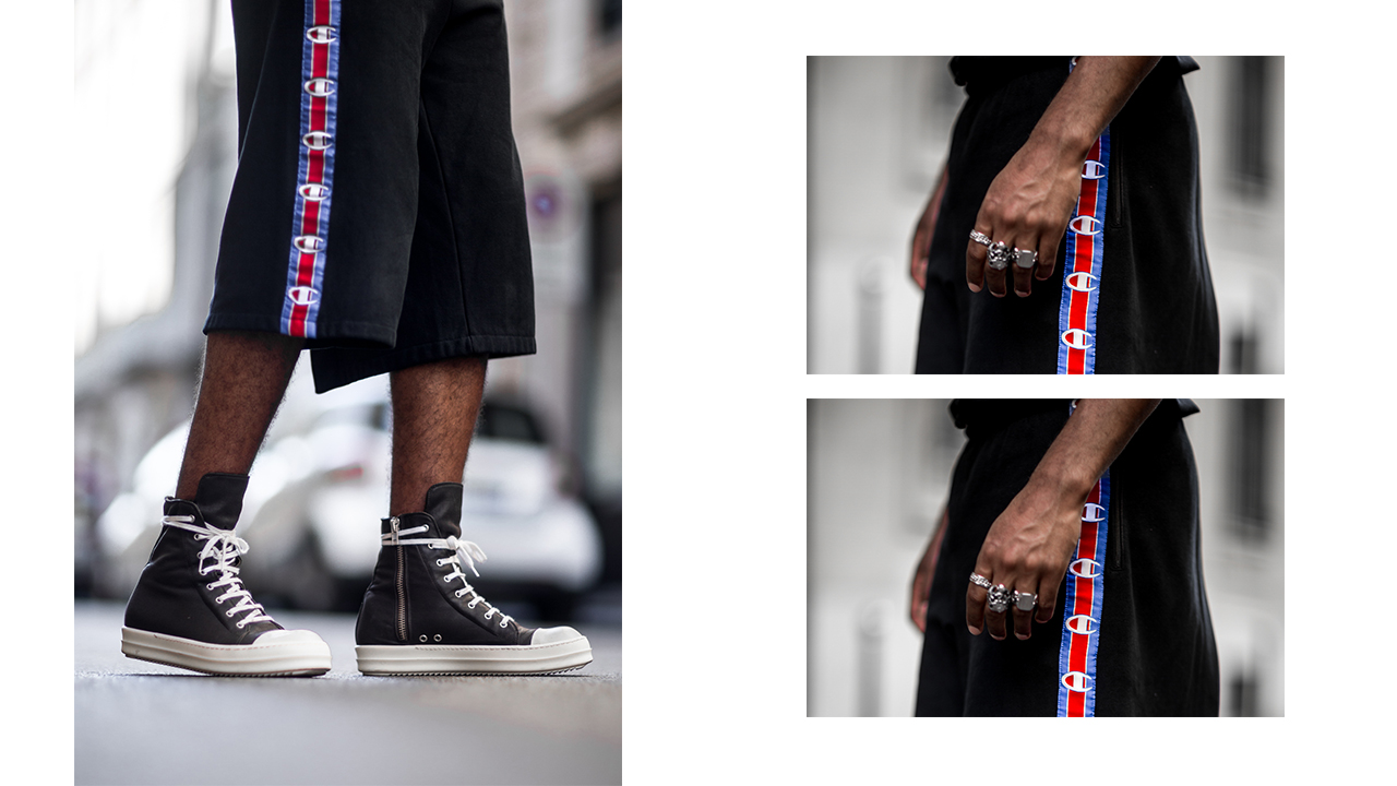 Vetements X Champions Shorts worn by Jean-Claude Mpassy from New Kiss on the Blog