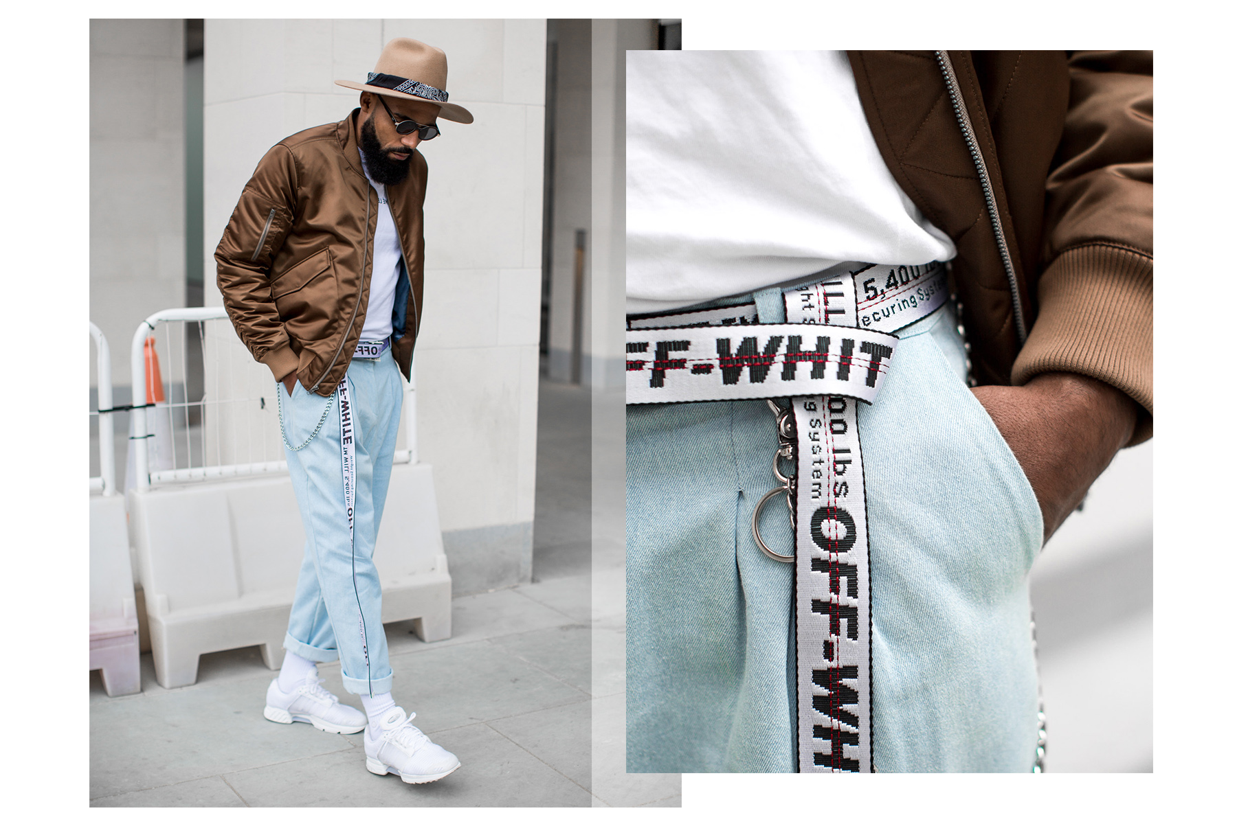 Jean-Claude Mpassy from New Kiss on the Blog wearing Off-White belt and Tiger of Sweden Bomber Jacket