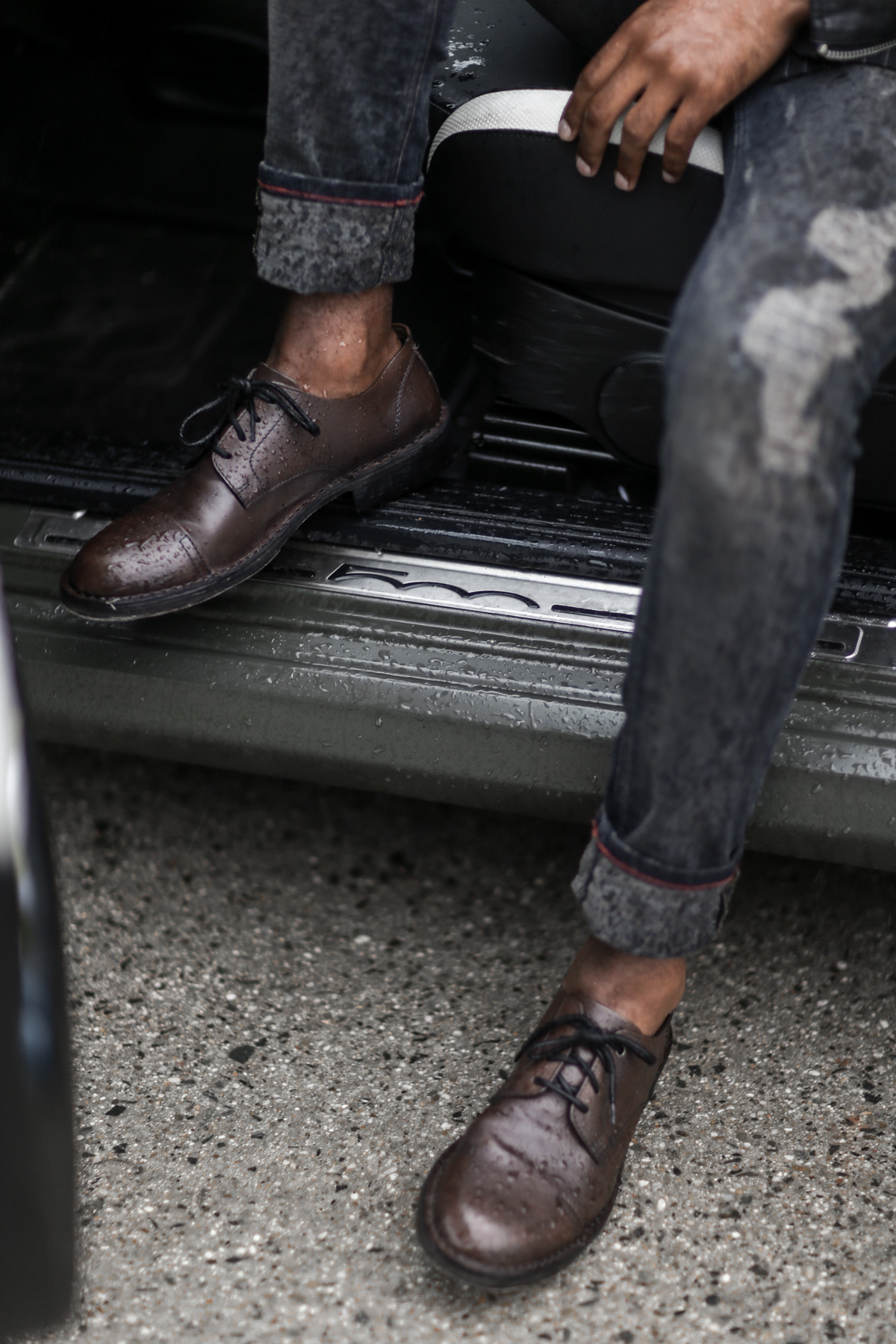Brown leather shoes from Diesel
