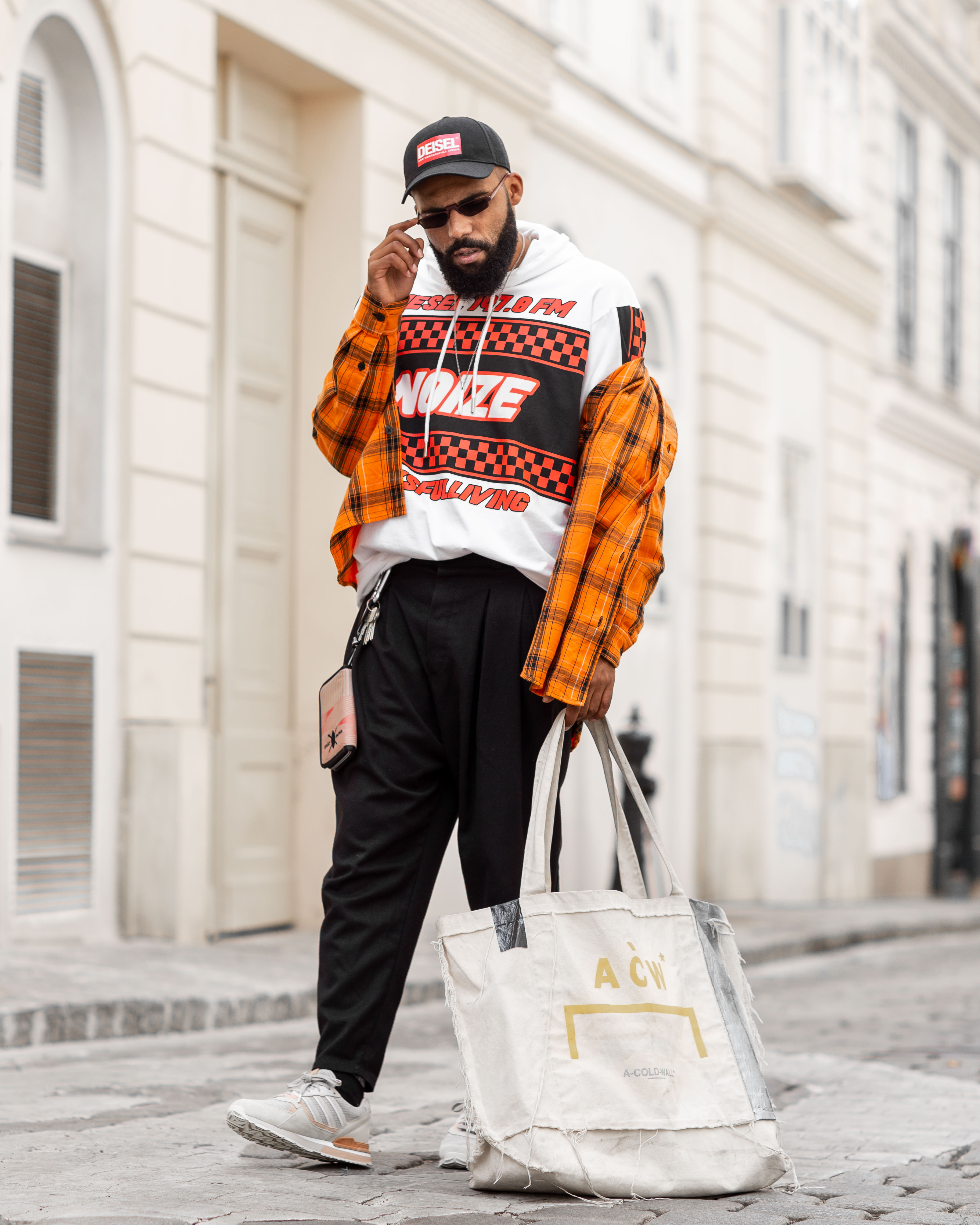Street Style: Jean-Claude Mpassy from New Kiss on the Blog wearing Diesel FW19 and a bag from A-Cold-Wall