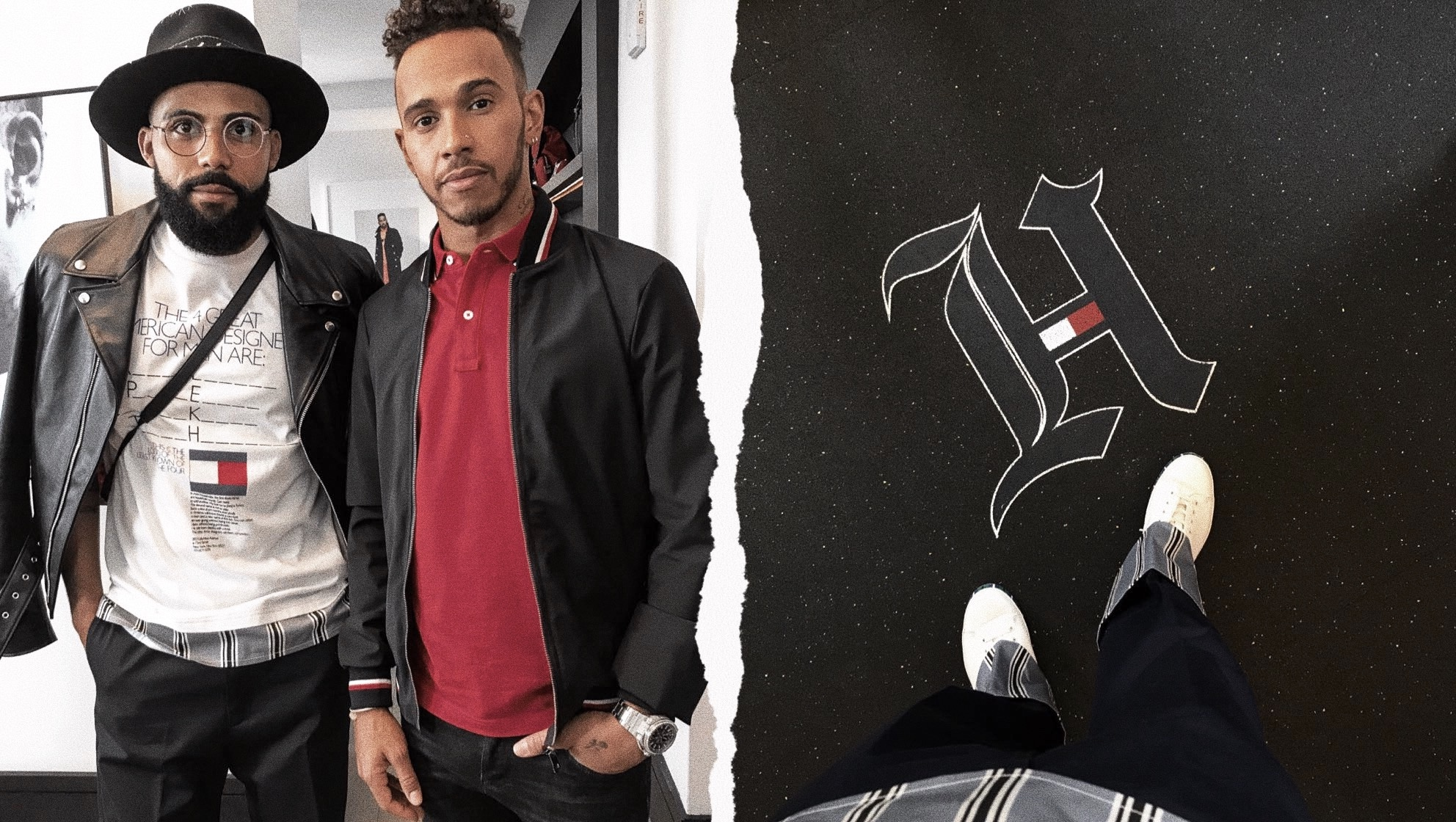 Jean-Claude Mpassy from New Kiss on the Blog with Lewis Hamilton during the Tommy Hilfiger X Lewis collection presentation