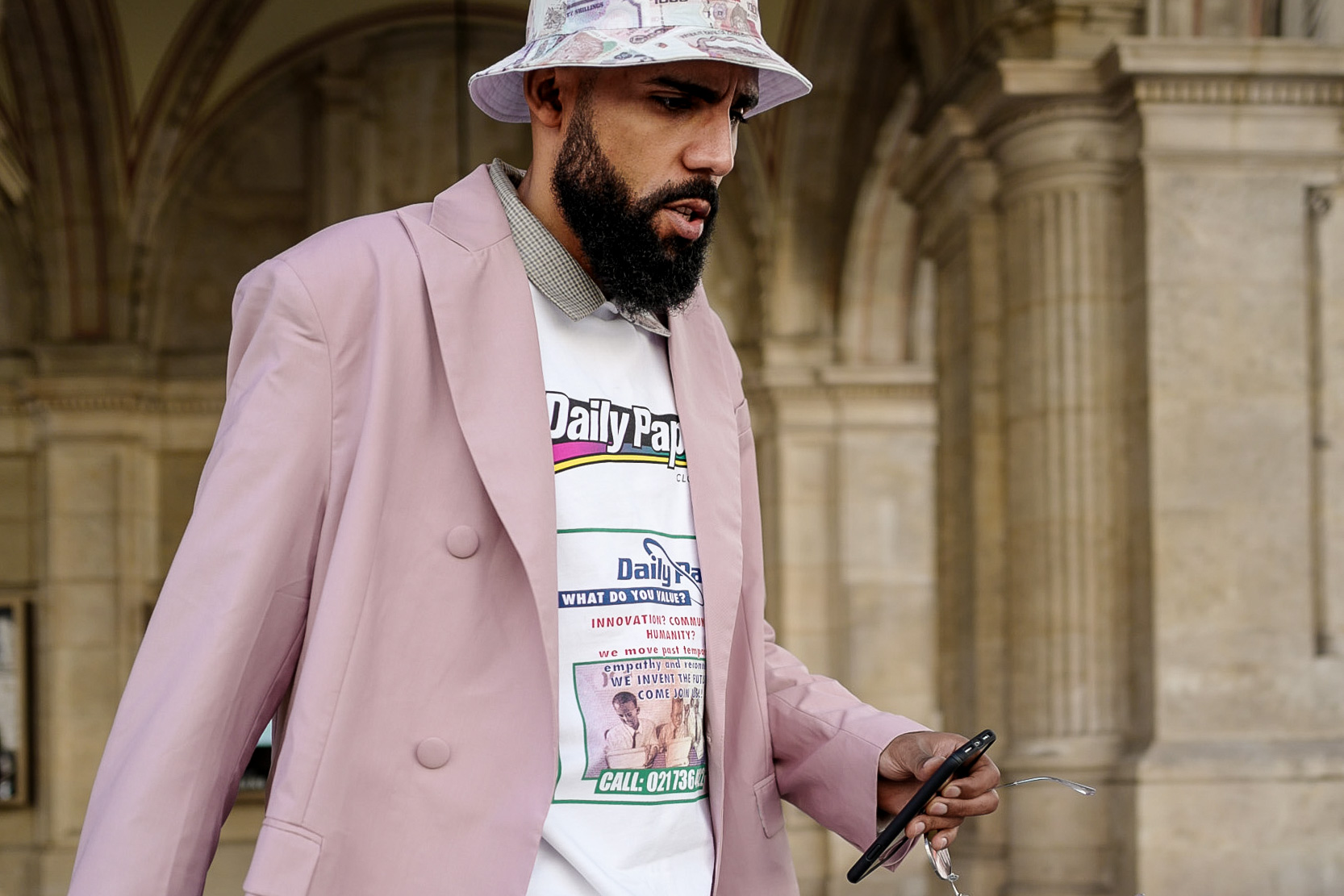 Daily Paper SS19 Street Style shot of Jean-Claude Mpassy