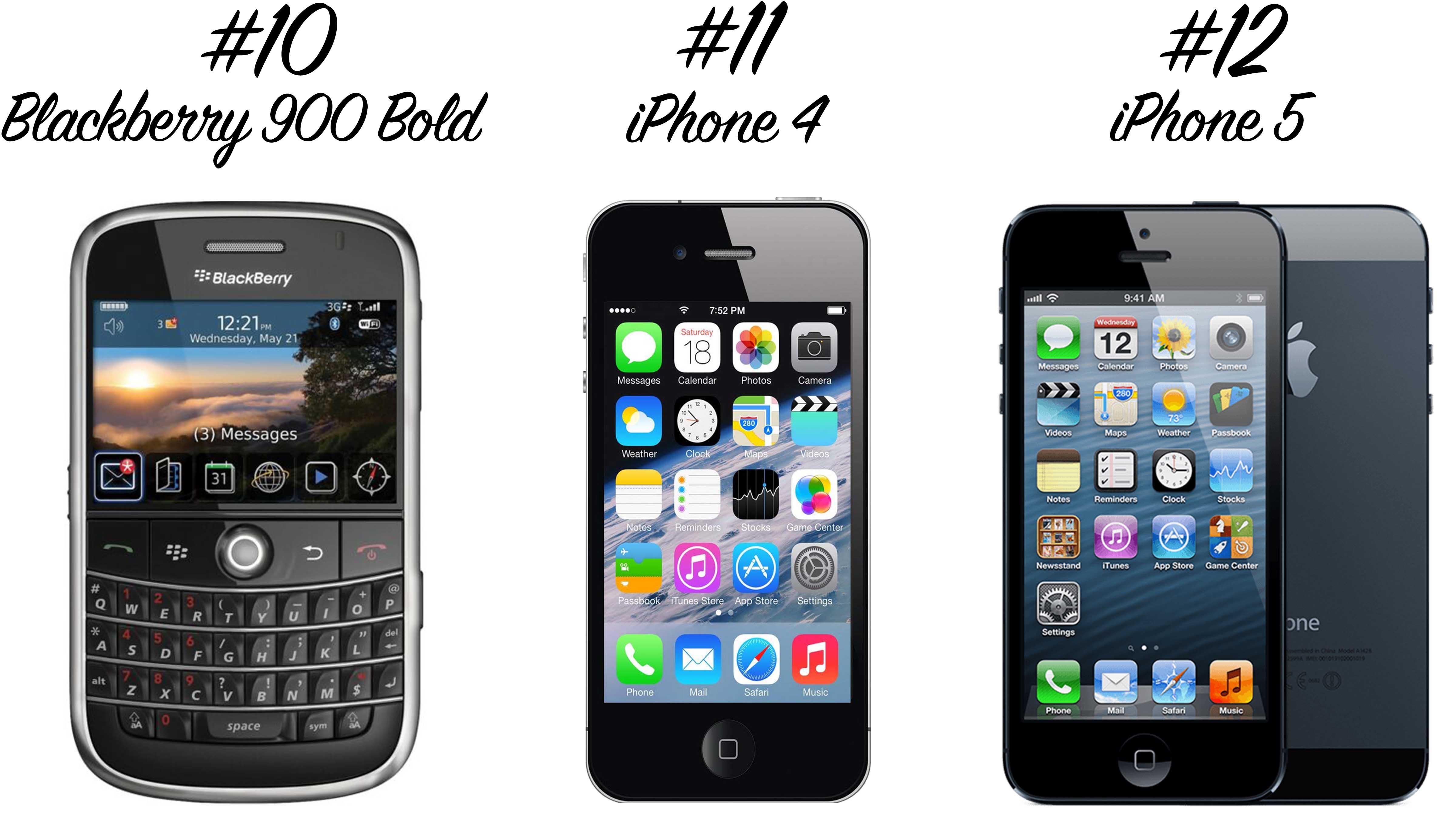 Retro Handys: Blackberry 900 Bold, iPhone 4, iPhone 5