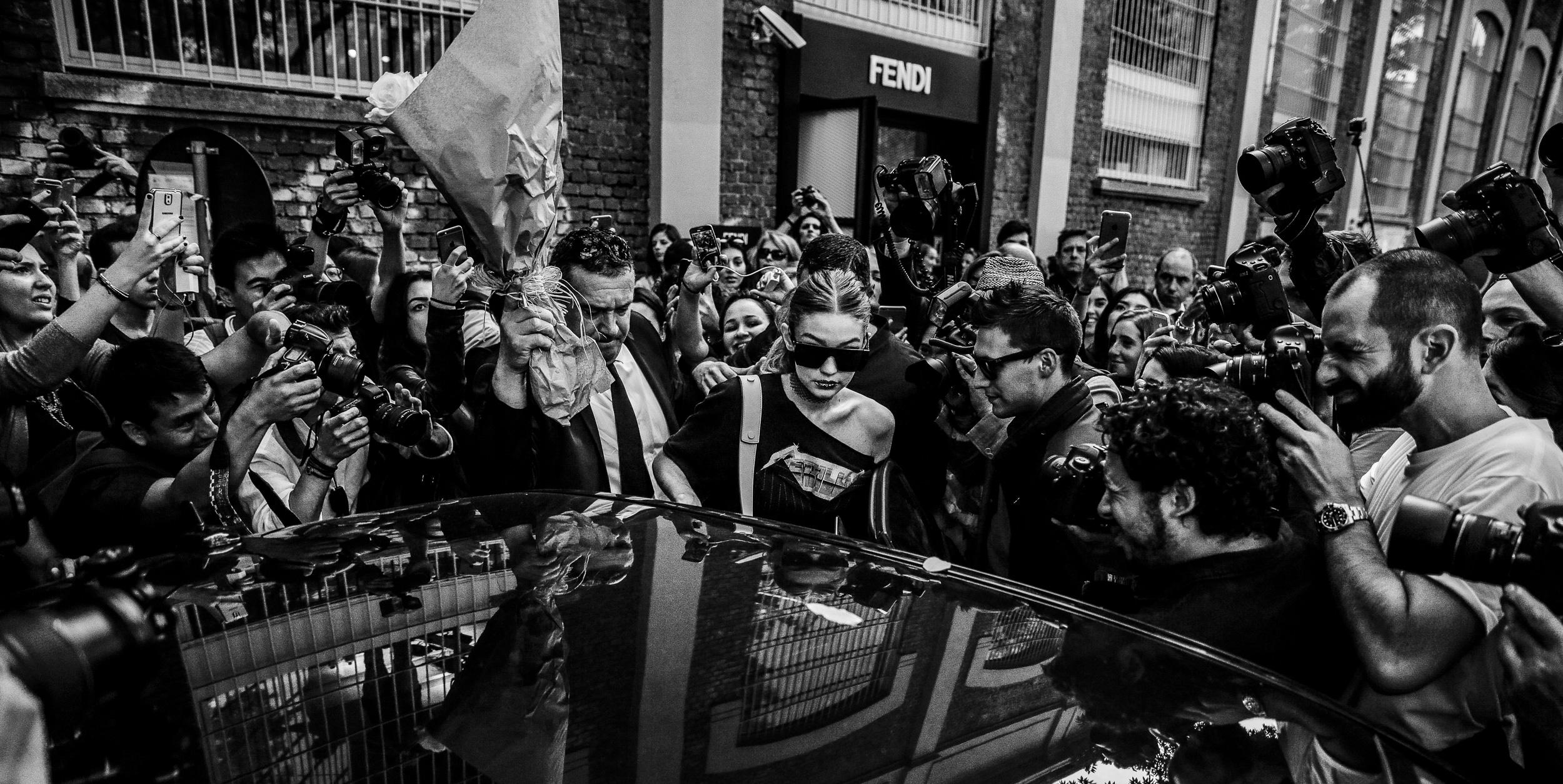 Gigi Hadid leaving Fendi SS17 Show during Milan Fashion Week