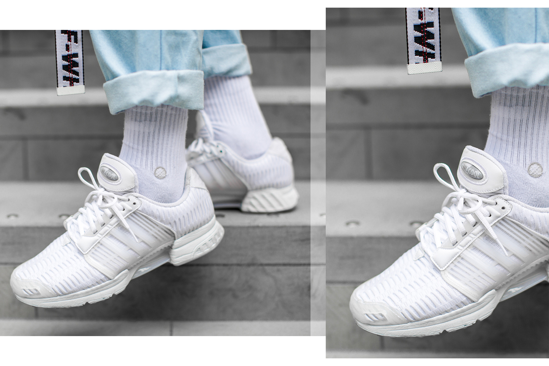 All-white Adidas Clima Cool Sneakers worn by Jean-Claude Mpassy during London Fashion Week Men's
