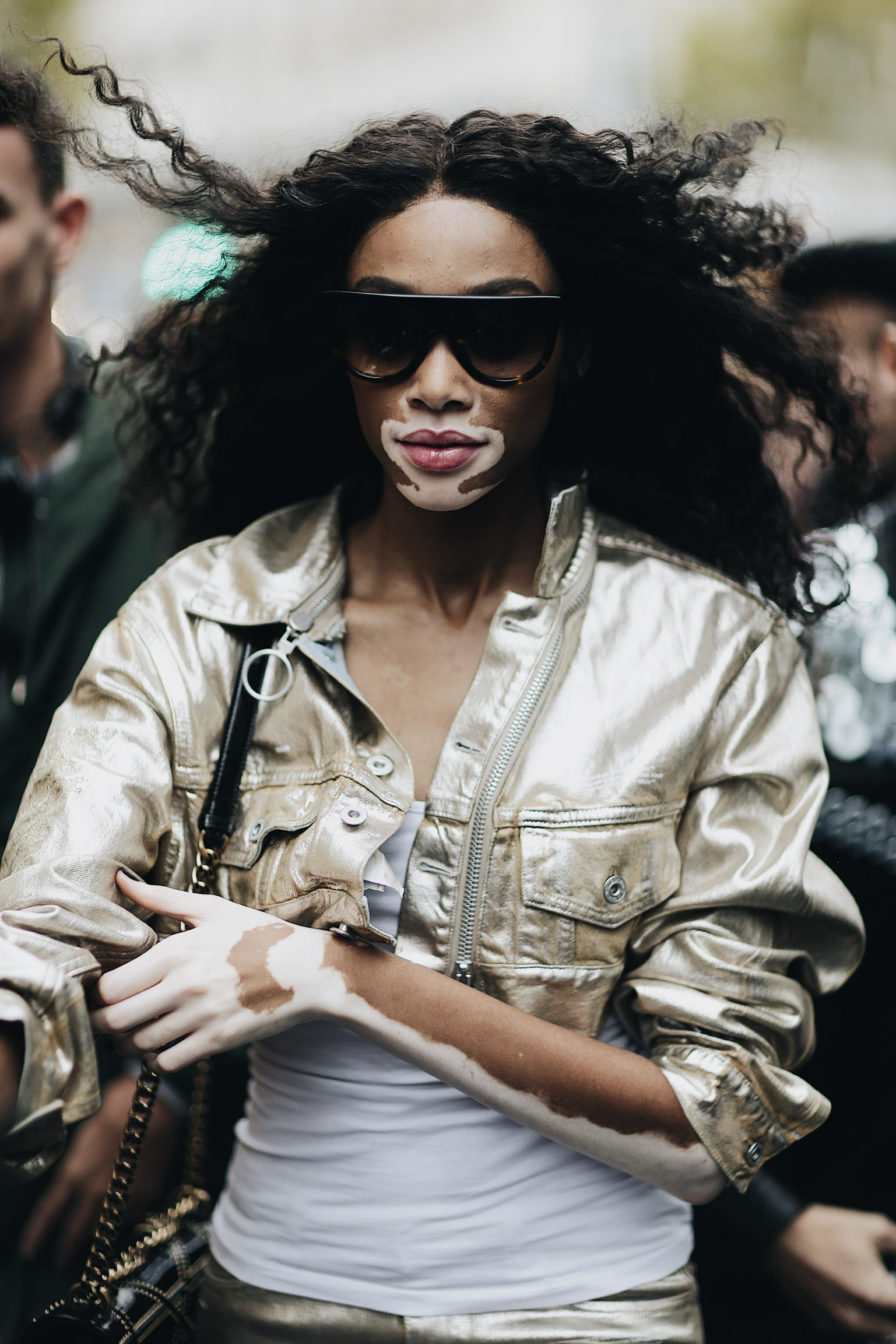 Street Style during Paris Fashion Week: Winnie Harlow