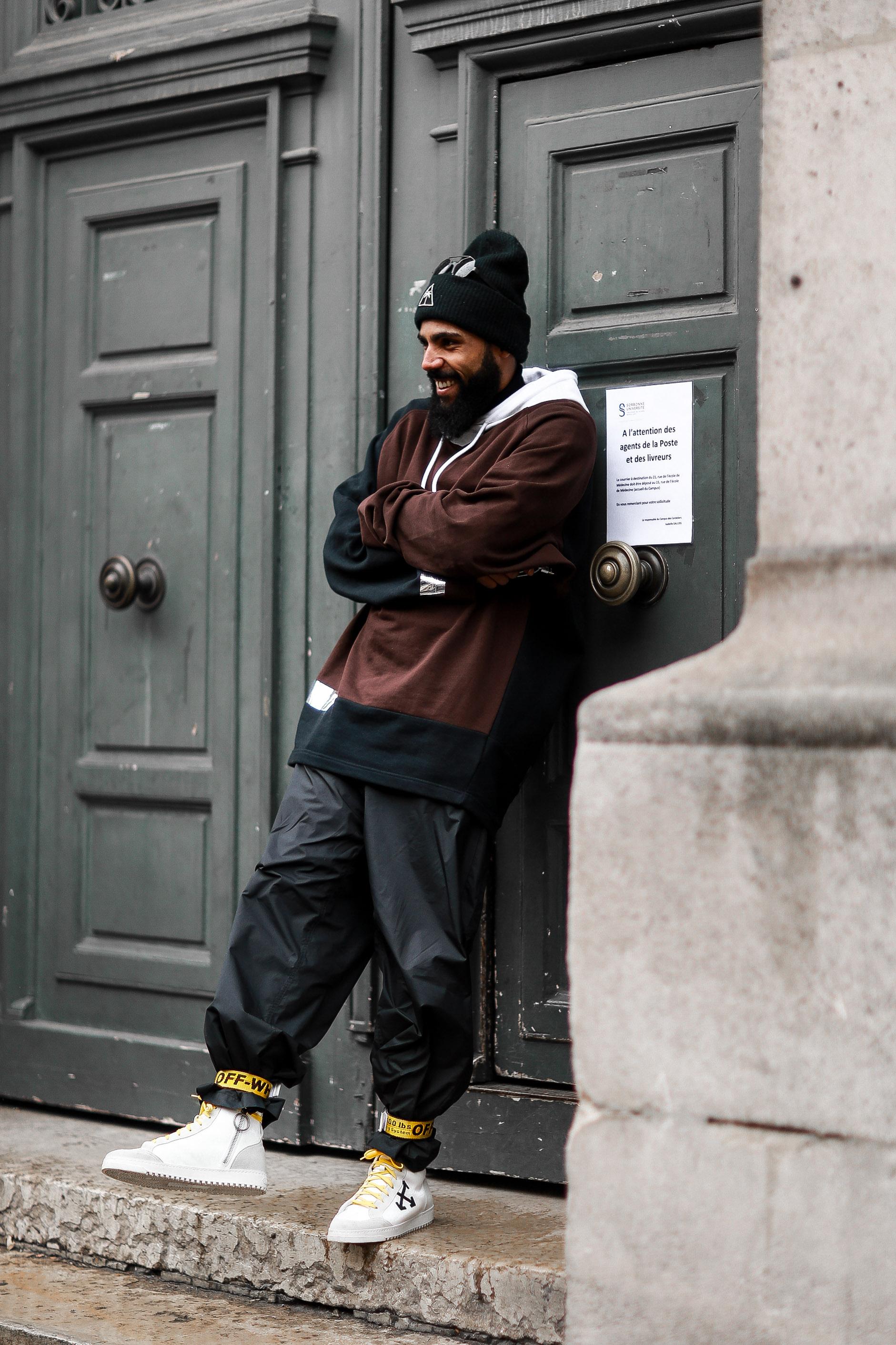 Raf Simons street style during Paris Fashion Week Men's
