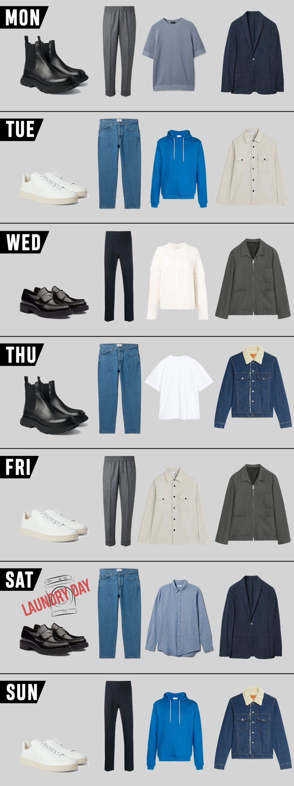 Minimalist Capsule Wardrobe for men: Cool Tones